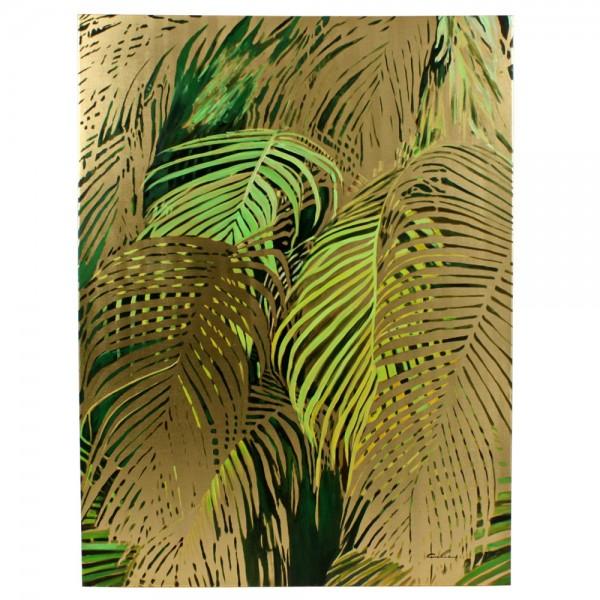 Acryl Bild Leinwand Jungle Leaves Pflanzen 90 x 120 cm Malerei Kunst Gemälde