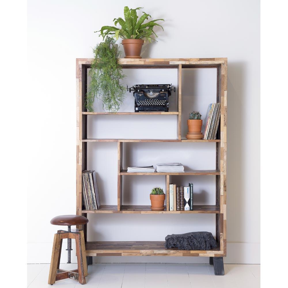 wandregal 126 x 181 cm recyceltes massivholz aufbewahrung b cherregal regal holz new maison. Black Bedroom Furniture Sets. Home Design Ideas