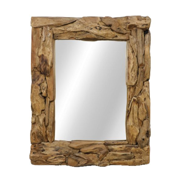 Wandspiegel Root 100 x 80 cm Spiegel Teak natur Wurzelholz Mirror hoch oder quer Montage