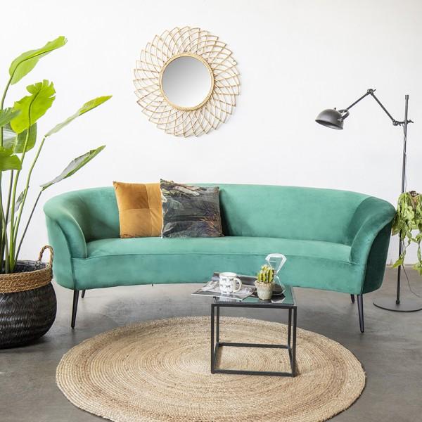 Giga 3 Sitzer Sofa Megan grün 218 cm Samt Sofabank