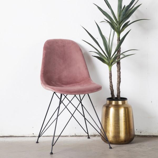 2er Set Stuhl Jamie Samt rosa Vierfußstuhl Esszimmerstuhl Dinnerstuhl Esstischstuhl