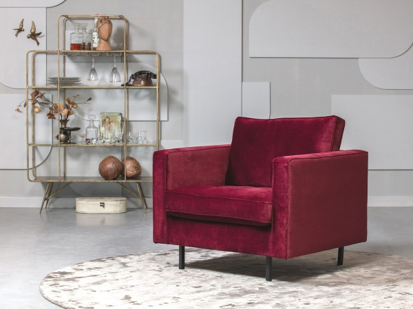 BePureHome 1,5 Sitzer Sessel Rodeo Classic Samt rot