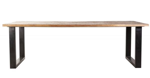 Esstisch 300 x 100 cm Mango Holz Beine Metall schwarz U-form
