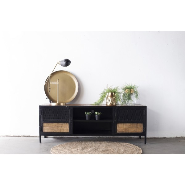 TV Möbel Lowboard Kenneth 160 cm Metall und Mango Holz