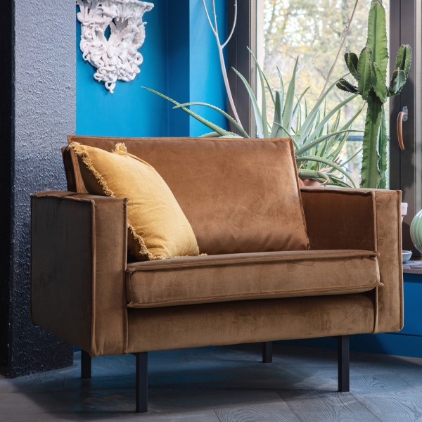1,5 Sitzer Sessel RODEO Samt honiggelb Lounge Armlehnsessel Fernsehsessel Relax