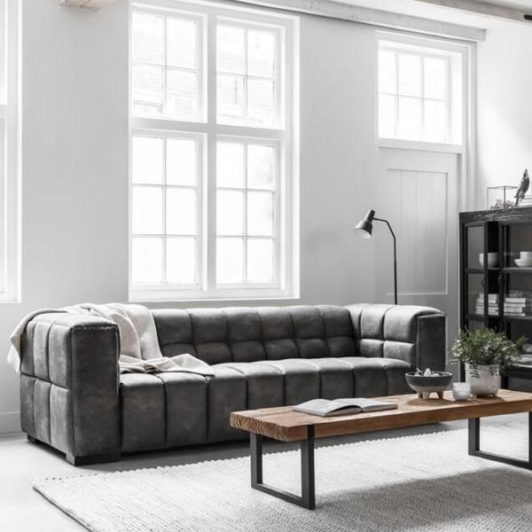 MUST LIVING 3 Sitzer Sofa Waves Leder kohlegrau Lounge Couch Garnitur