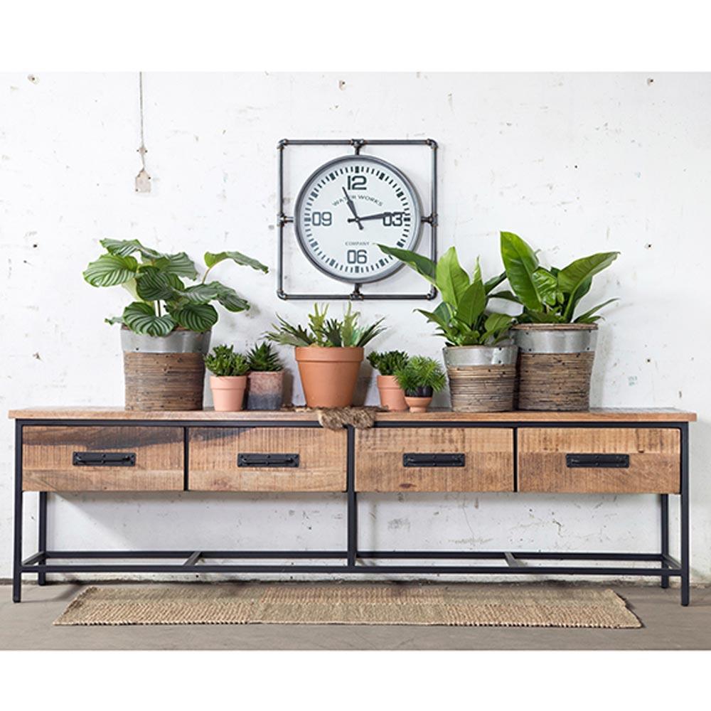 vintage tv m bel jules 250 cm lowboard 4 schubladen. Black Bedroom Furniture Sets. Home Design Ideas