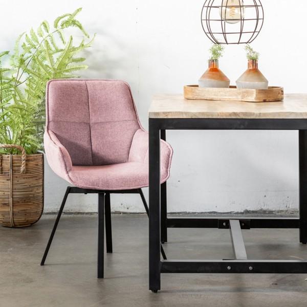 Esstischstuhl Stuhl drehbar Shannon Stoffbezug rosa