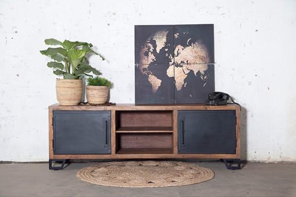 Industrie TV Board Lowbard 180 cm Alberto Metall Mango Holz
