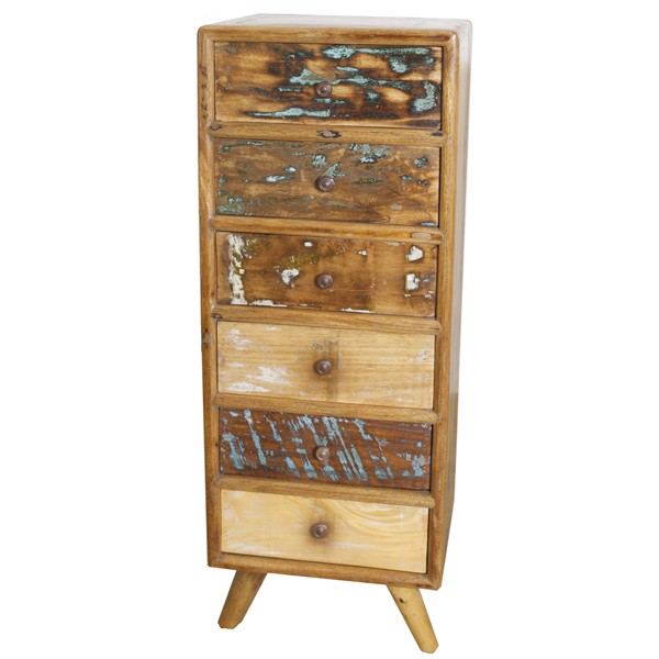 Vintage Landhaus Hochkommode 6 Schubladen Holzschrank Aufbewahrungsschrank
