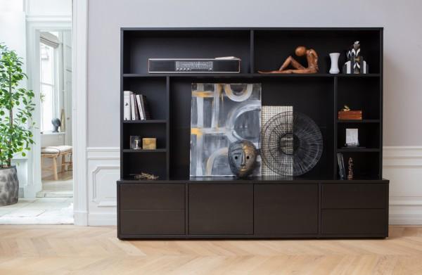 woood Wohnwand Maxel 215 cm TV-Möbel Kiefer schwarz