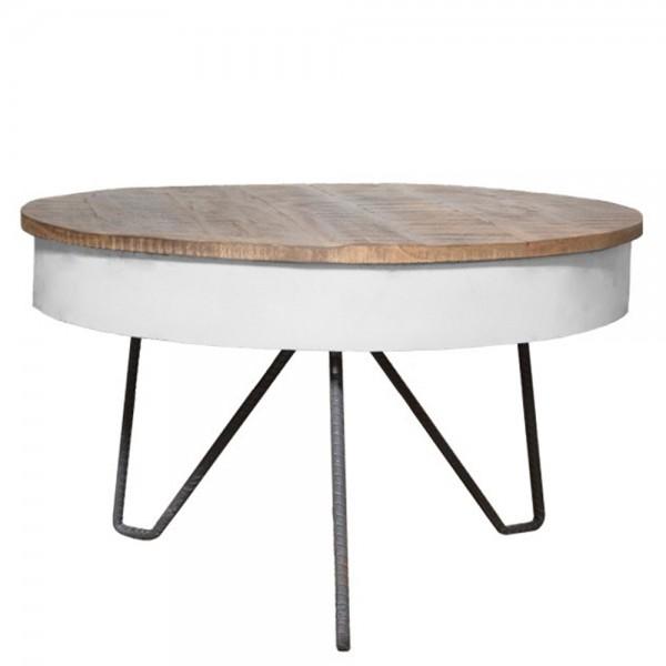 Couchtisch SARIA Ø 80 cm weiß Metall Mango massiv Beistelltisch Sofatisch Tisch