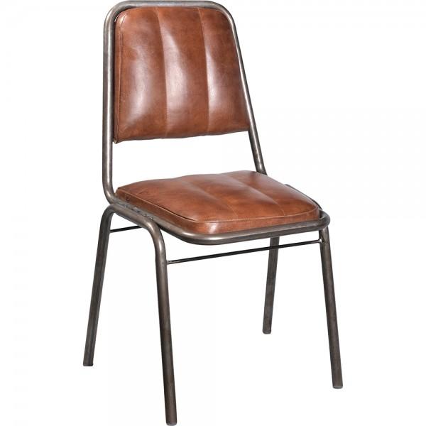 2er Set Industrie Design Esstischstuhl Metall anthrazitgrau Leder braun Esszimmerstuhl Stuhl