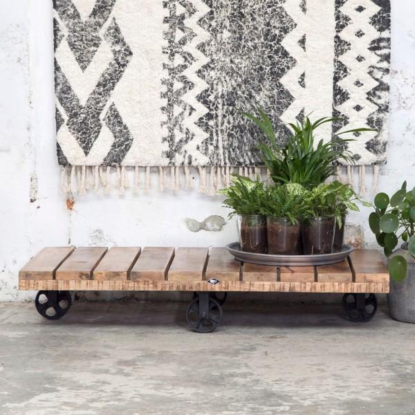 Industrie Design Couchtisch 120 x 60 cm rollbar Holztisch Massivholz Sofatisch