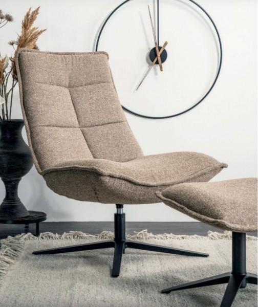 Fernseh Lounge Sessel Marvis drehbar beige mit Fußhocker