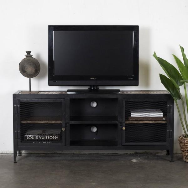 Industrie TV Möbel Mikey 140 cm Lowboard Mango Holz schwarz