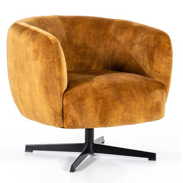 Lounge Club Sessel Jaimey Samt ocker Velvet Relaxsessel