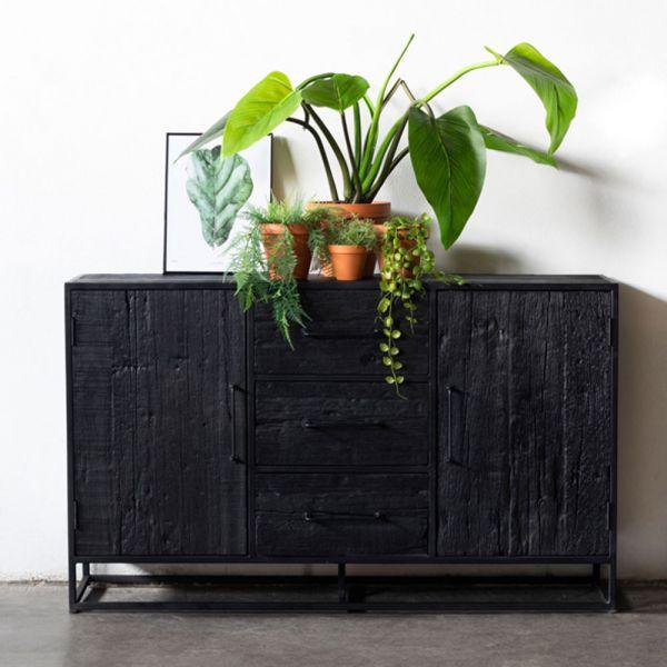 Industrie Kommode BLAKE B 150 cm Mangoholz Sideboard schwarz