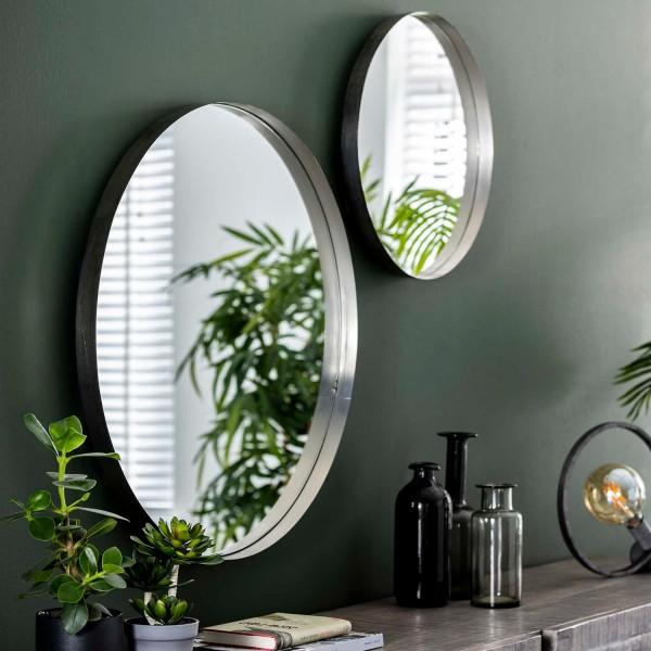 Wandspiegel Ø 50 cm Metallrahmen antiknickel Spiegel Dekospiegel
