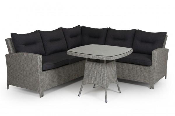 Garten Polyrattan Loungeset 2 x 2 m grau incl. Kissen + Tisch