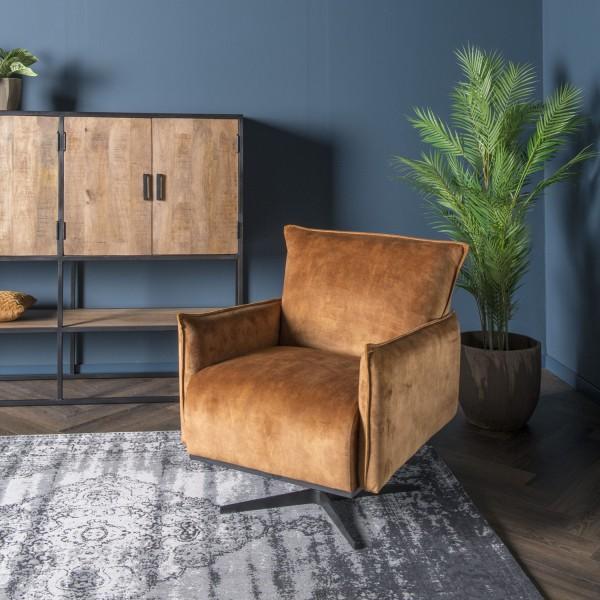 Wohnzimmer Lounge Sessel ocker Samt Relaxsessel