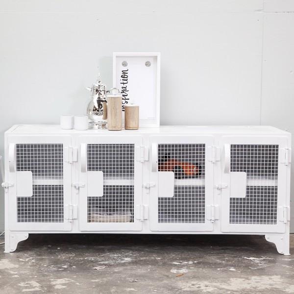 Industrie Design TV Möbel Tisch Fernseh Kommode TV Rack Board Metall weiß