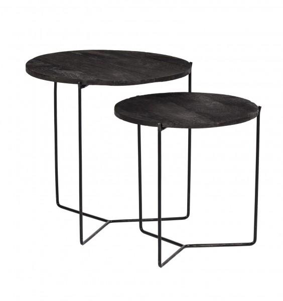 2er Set Bestelltisch Mason Metall Mangoholz schwarz Anstelltisch Tischset