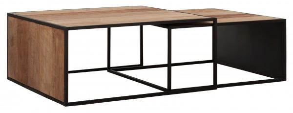 DTP Home 2er Set Couchtisch Cosmo Teak Holz Metall schwarz