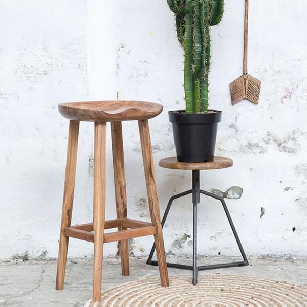 Vintage Barstuhl NORDIC Akazie Massivholz braun Hocker Sitzhocker Stuhl