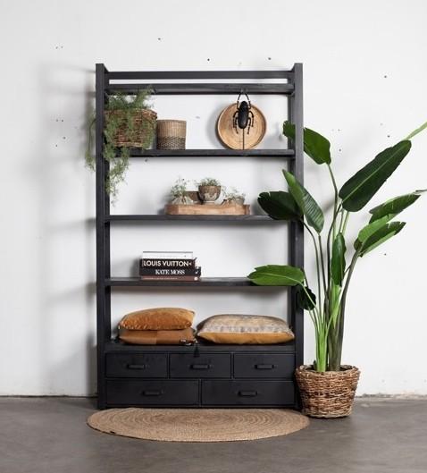 Industrie Regal DAVI Metall und Holz schwarz Bücherregal