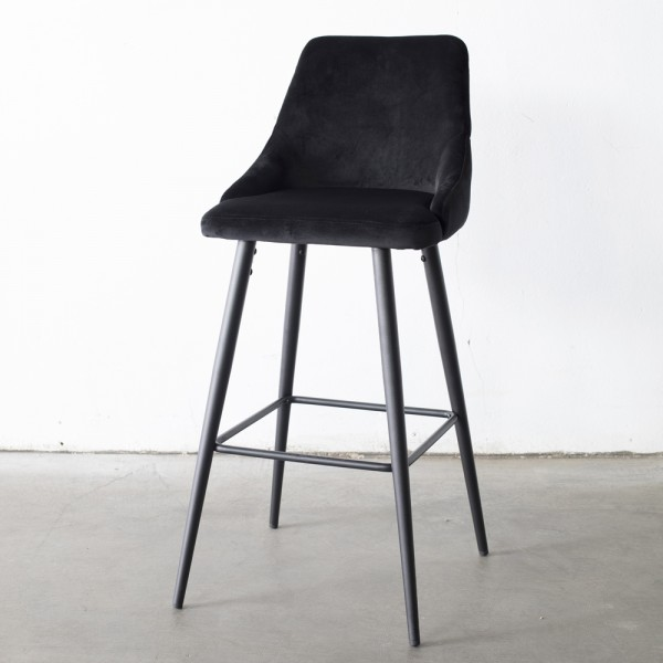GIGA Barhocker Amber Samt schwarz Sitzhöhe 66 cm