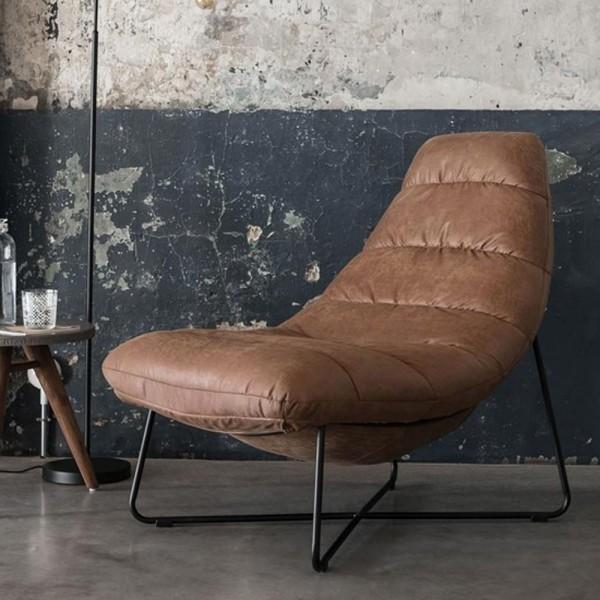 MUST Living Lounge Sessel Line recyceltes Carlitto Leder cognac