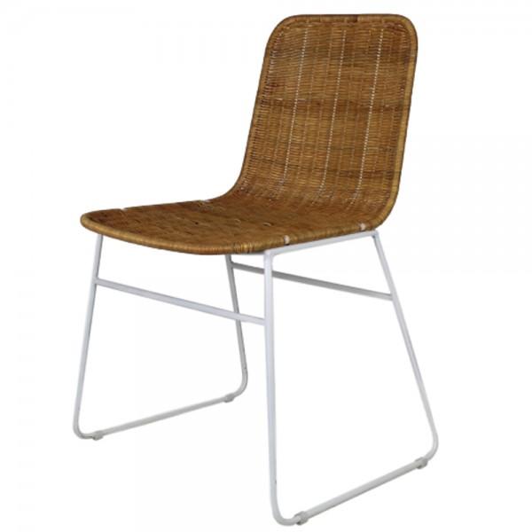 Esszimmerstuhl INDUSTRIAL weiß Stuhl Rattan Koboo Esszimmer Küchenstuhl