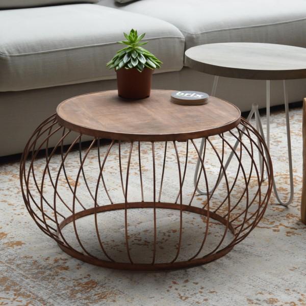 beistelltisch couchtisch bruno 70 cm metallkorb anstelltisch kaffeetisch holz new maison. Black Bedroom Furniture Sets. Home Design Ideas