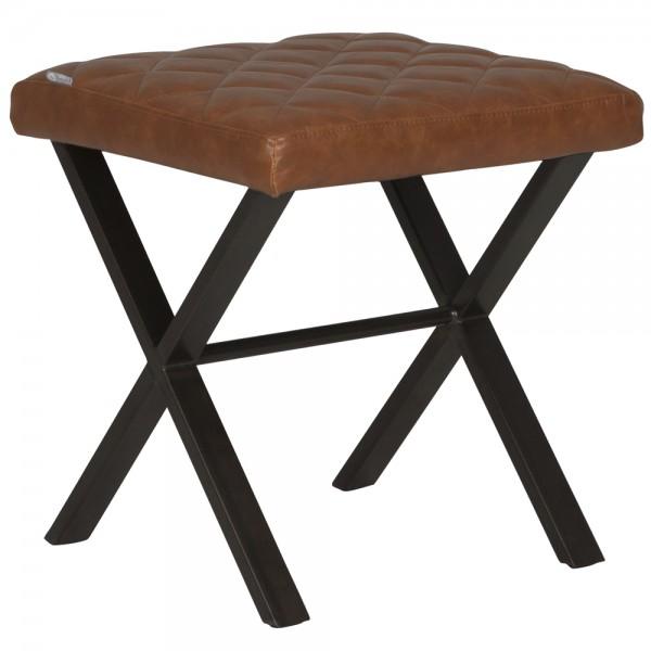 DTP HOME Stuhl Hocker ALABAMA Bezug recyceltes Vintage Leder Polsterhocker Sitzhocker
