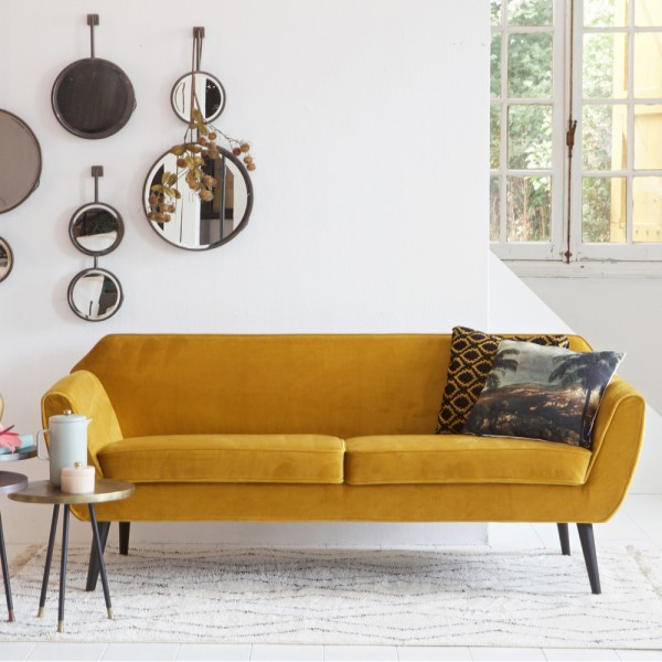 woood 2,5 Sitzer Sofa ROCCO Samt ocker Couch Loungesofa