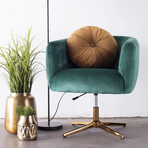 Lounge Sessel Lisa Samt grün Gestell Gold