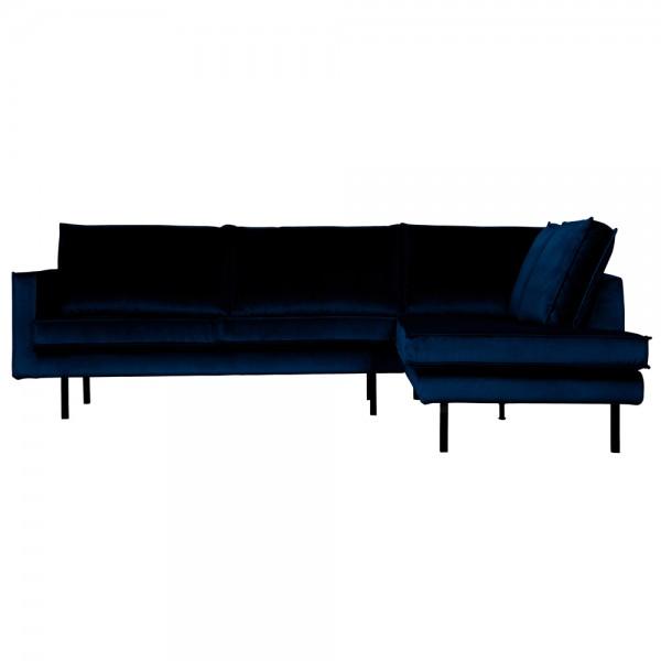 Eckgarnitur Rodeo Samt dunkelblau Couch Sofa Ecksofa Longchair rechts