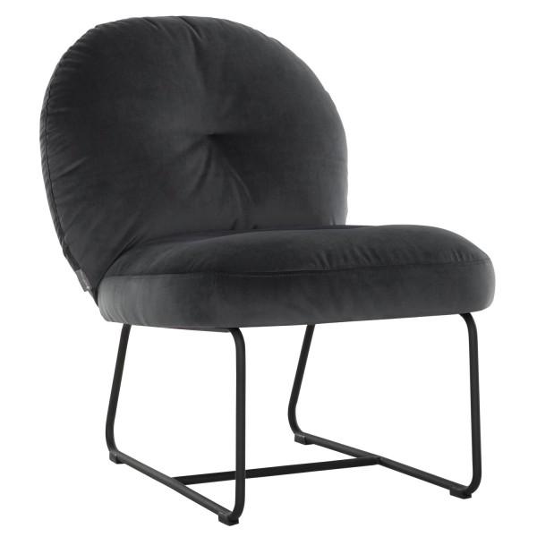 MUST Living Loungesessel Sessel Bouton Samt dunkelgrau