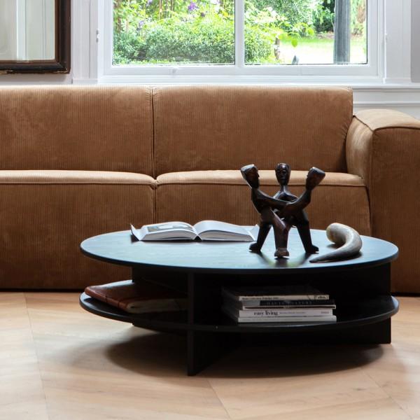 Couchtisch Tian Ø 100 cm Esche Massivholz schwarz Sofatisch Tisch Beistelltisch