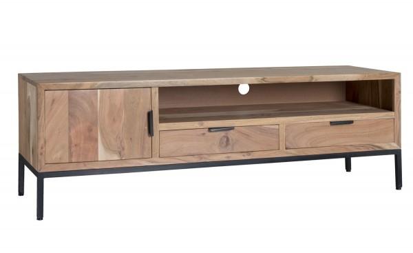 TV Möbel Oslo 140 cm Akazienholz Metall Schubladen Lowboard