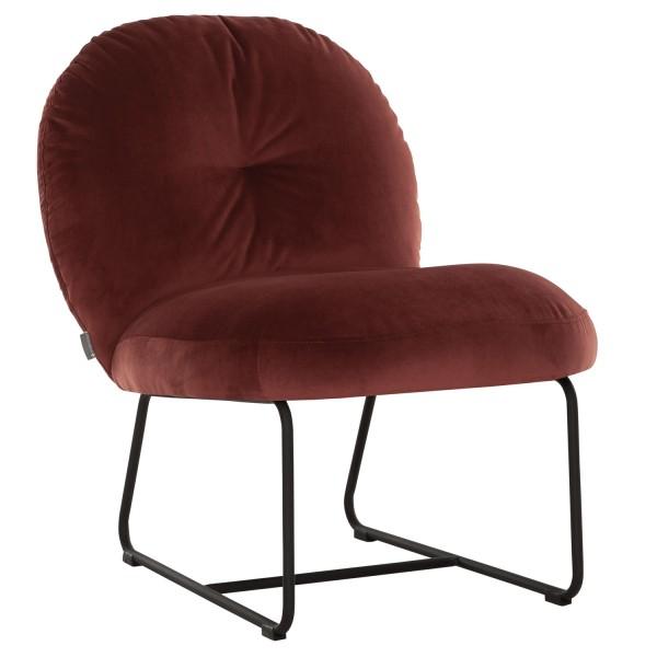 MUST Living Loungesessel Sessel Bouton Samt ziegelrot