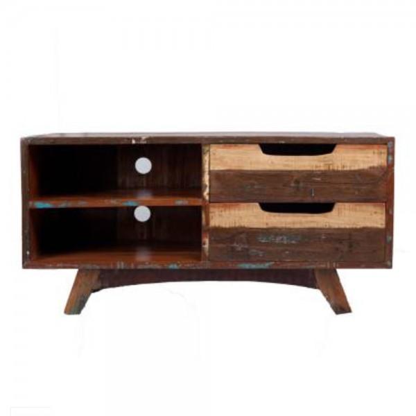 vintage tv m bel b 100 cm lowboard 2 schubladen fernsehtisch kommode rack new maison esto. Black Bedroom Furniture Sets. Home Design Ideas