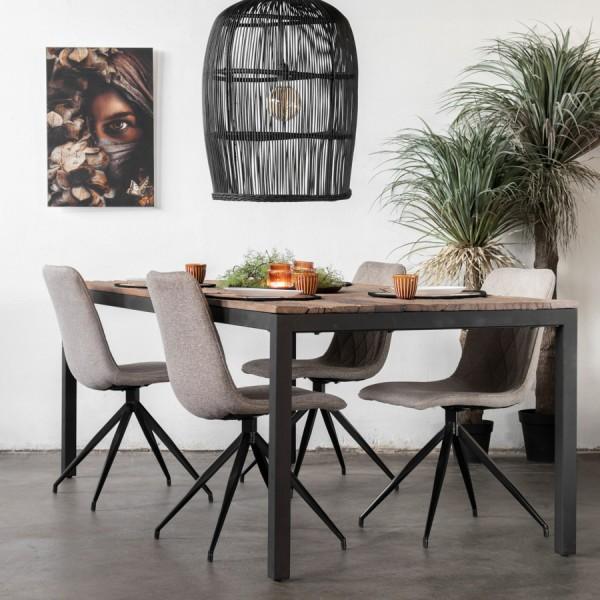 Esstisch Wolf 160 x 100 cm Massivholz Metall schwarz Dinnertisch Tisch Esszimmertisch