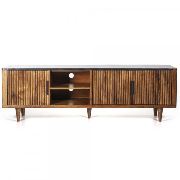 TV Möbel Carter 180 cm Mango + Marmorplatte Sideboard