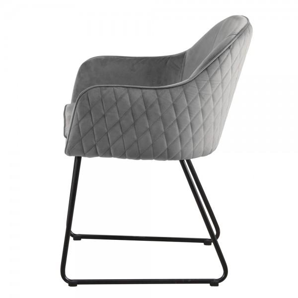 Esszimmerstuhl SAMT Benthe Stuhl mit Armlehnen grau