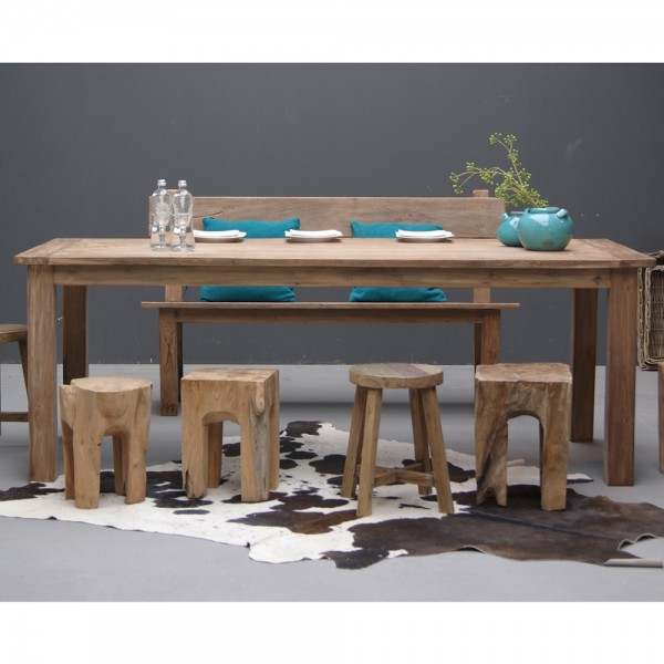 Esstisch DENGKLEH Teakholz massiv Holztisch Dinnertisch Tisch Esszimmertisch