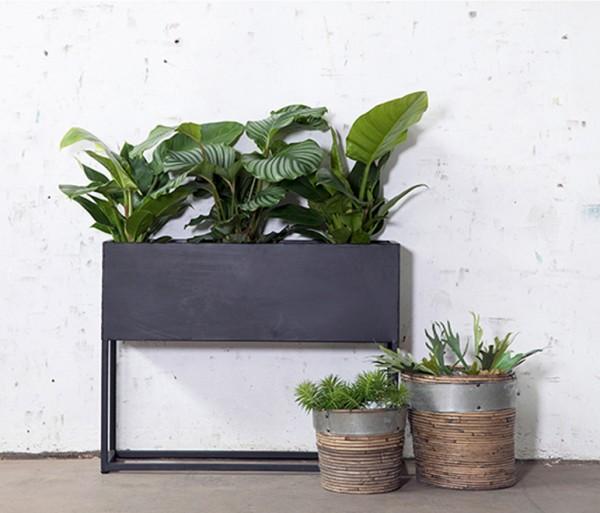 Industrie Pflanztopf URBAN 90 cm Pflanzenbank schwarz Metall Konsole