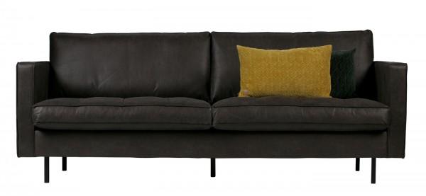BePureHome 2,5 Sitzer Sofa Rodeo classic schwarz recyceltes Leder