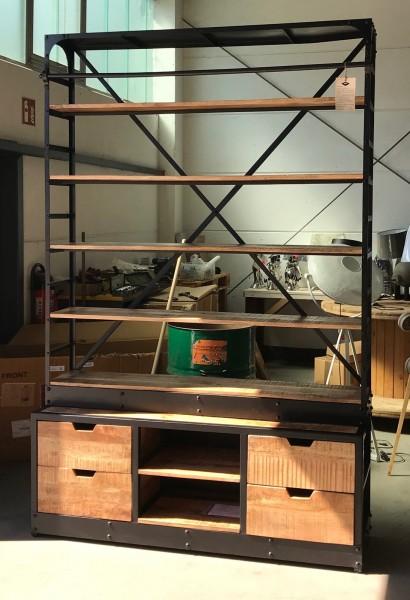 2. Wahl Industrie Bücherregal Schrank B 163 cm mit Leiter Regal